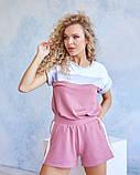 Трикотажний рожевий костюм з шортами, фото 2