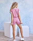 Трикотажний рожевий костюм з шортами, фото 4