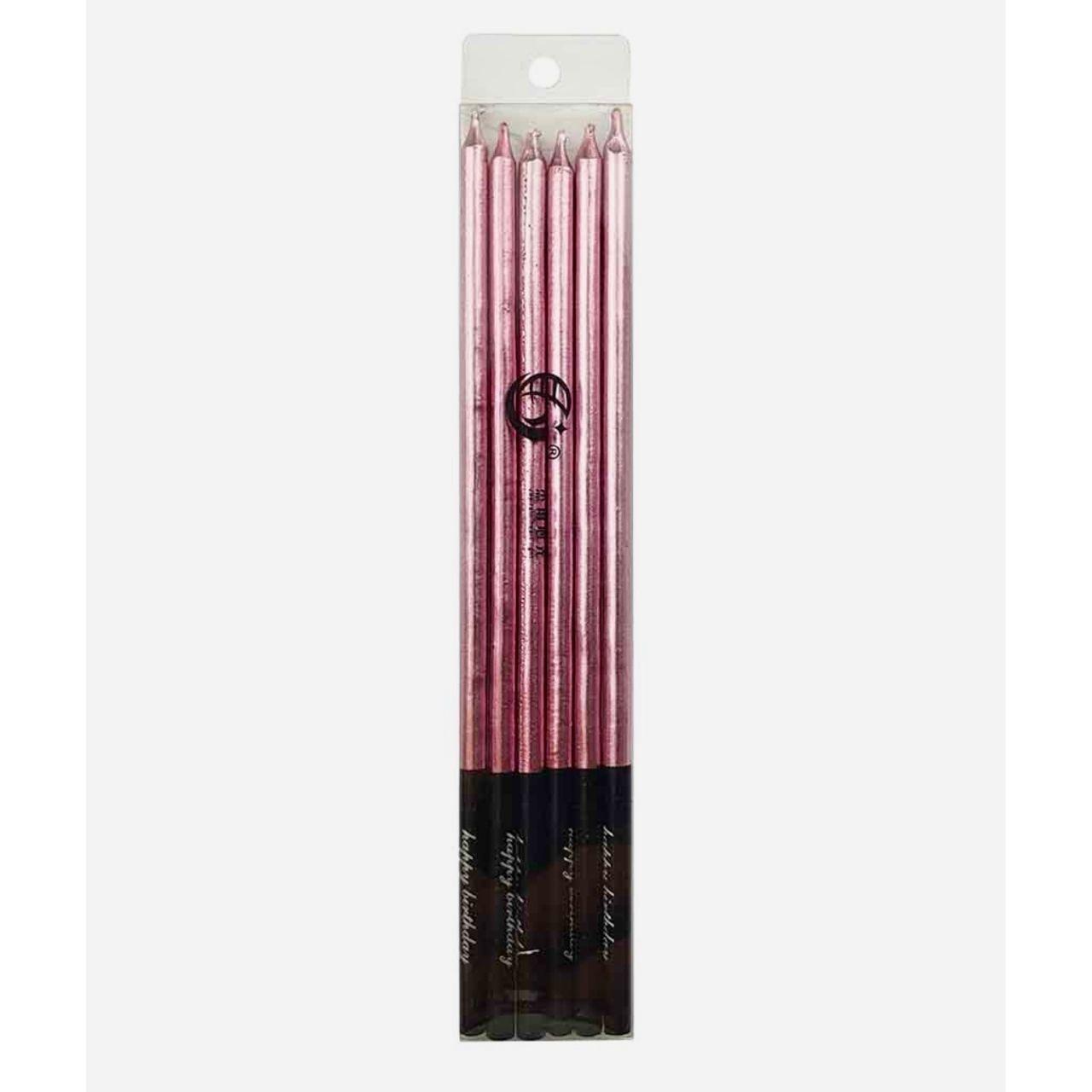 """Свічки на торт """"Еlite"""" 16 см (6 шт.) рожеве золото"""