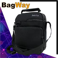 Чоловіча сумка через плече Jack Lu чорного кольору на одне відділення з кишенями Розміри: 25х20х6