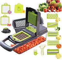 Овощерезка измельчитель ситечко для яиц и нож для очистки овощей 14в1 KA-808 Veggie Slicer 193838