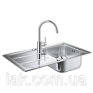 Набір Grohe мийка кухонна K400 31570SD0 + змішувач Concetto 32663001