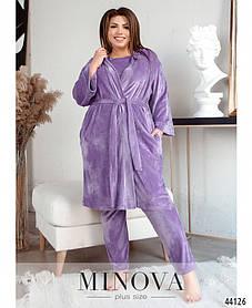 Домашний женский брючный костюм-тройка большие размеры от 52-54, 54-56, 58-60, 62-64, 66- 68