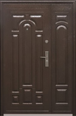Двустворчатые (полуторные) входные двери ТР-С 117 Китайские. Наружные на улицу. Утепленные минватой