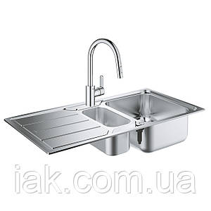 Набір Grohe мийка кухонна K500 31572SD0 + змішувач Eurostyle Cosmopolitan 31482003