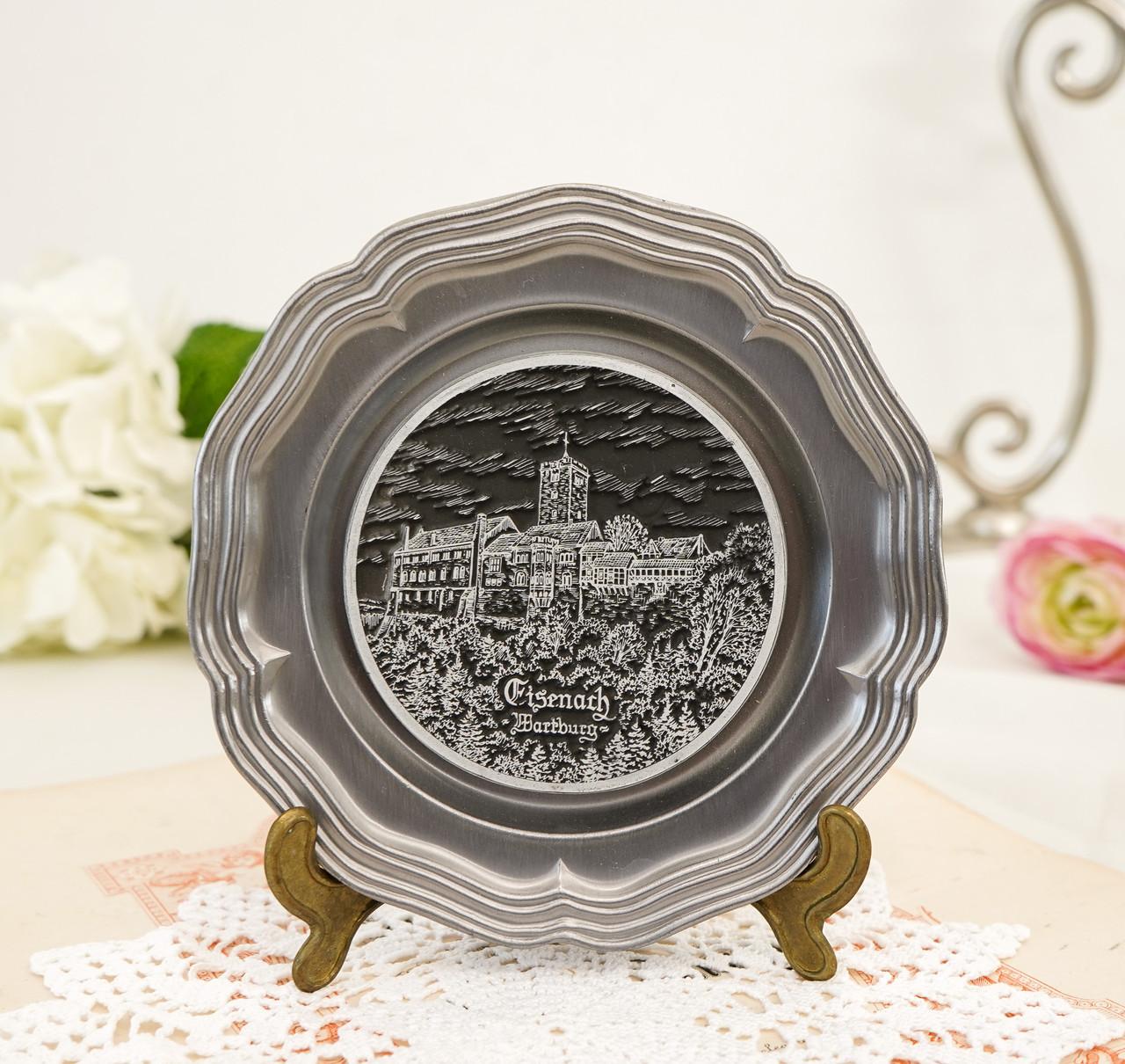 Колекційна олов'яна тарілка з зображенням Замку Ваартбурга - Wartburg, олово, Німеччина
