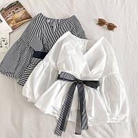 Жіноча стильна сорочка з V-подібним декольте, фото 1