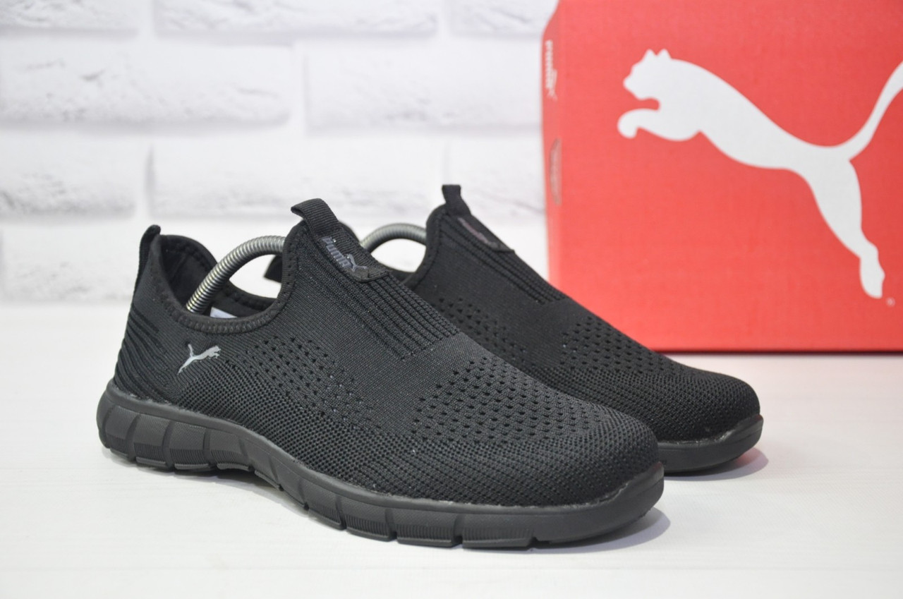 Чоловічі легкі чорні кросівки сітка без шнурків підошві в стилі Puma