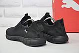 Чоловічі легкі чорні кросівки сітка без шнурків підошві в стилі Puma, фото 2