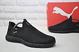 Чоловічі легкі чорні кросівки сітка без шнурків підошві в стилі Puma, фото 4
