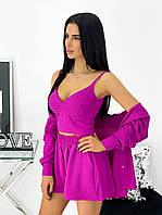 Женский летний костюм тройка 1431 (42-44; 46-48) (цвета: фуксия) СП, фото 1