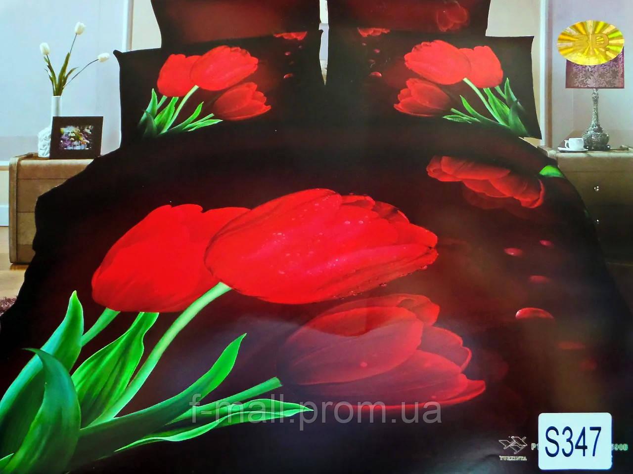 Комплект постільної білизни ELWAY (Польща) 3D LUX Сатин Євро Подарункова упаковка (175)