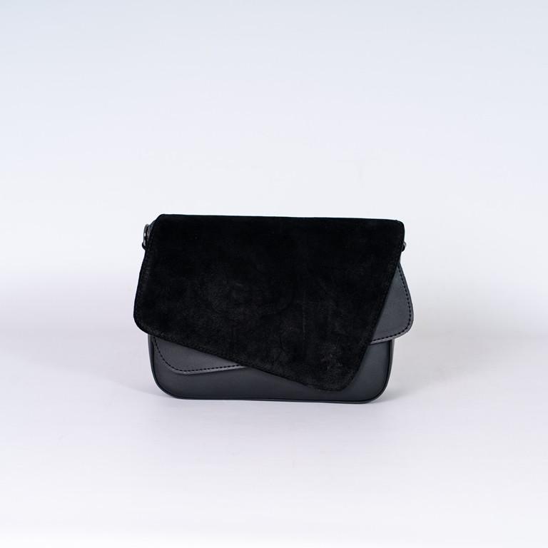 Жіноча замшева міні сумочка K77-20/2 крос-боді довгий ремінець на плече подвійний клапан з натуральної замші