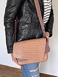 Жіноча замшева міні сумочка K77-20/2 крос-боді довгий ремінець на плече подвійний клапан з натуральної замші, фото 4