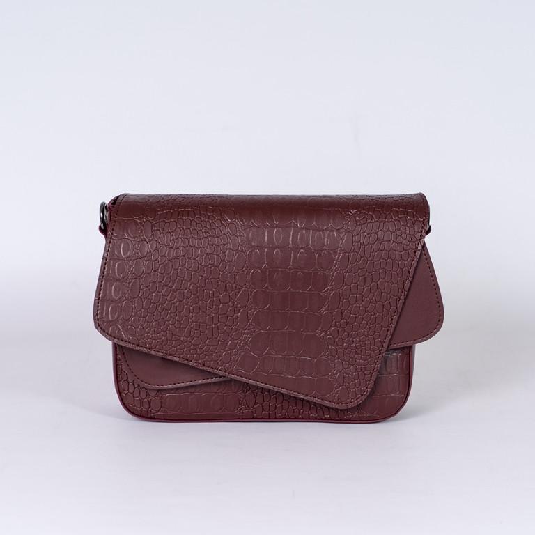 Бордовая женская маленькая сумочка, женская сумка бордового цвета под крокодила экокожа