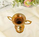 Старая коллекционная латунная вазочка с изящными ручками, латунь, Германия, 14 см, фото 5