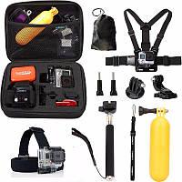 GoPro набор аксессуаров (Средний ударопрочный чехол, нагрудный ремень, ремешок на голову, ручной монопод, плавающая ручка, j-крючок, штатив/монопод