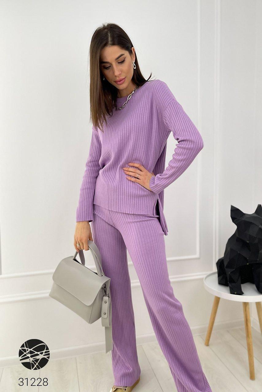 Трикотажный женский костюм в рубчик из джемпера и брюк-палаццо с 42 по 46 размер