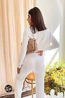 Трикотажный женский костюм в рубчик из джемпера и брюк-палаццо с 42 по 46 размер, фото 7