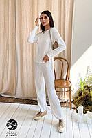 Трикотажный женский костюм в рубчик из джемпера и брюк-палаццо с 42 по 46 размер, фото 9