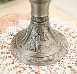 Вінтажний олов'яний підсвічник з сюжетами картин Карла Шпіцвега, олово, Німеччина, фото 9