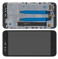 Дисплейный модуль для телефонов Xiaomi Mi A1, MI 5X, черный, с рамкой, High Copy
