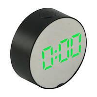 Настільні дзеркальні годинник 6505 з зеленою підсвіткою, фото 1