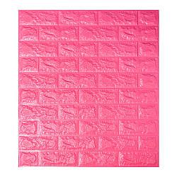 Декоративная 3D панель самоклейка под кирпич Темно-розовый 700x770x7мм