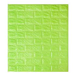 Декоративная 3D панель самоклейка под кирпич Зеленый 700x770x7мм