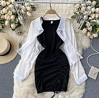 Женский стильный сарафан на бретелях и рубашка, фото 1