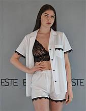 Пижама тройка Este рубашка шорты и кружевной топ  белая.