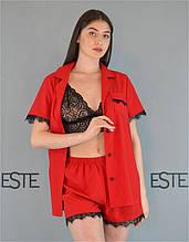Пижама тройка Este рубашка шорты и кружевной топ красная.