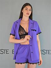 Пижама тройка Este рубашка шорты и кружевной топ сиреневая.