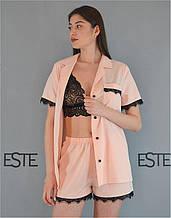 Пижама женская 3 в 1  Este рубашка шорты и кружевной топ персиковая.
