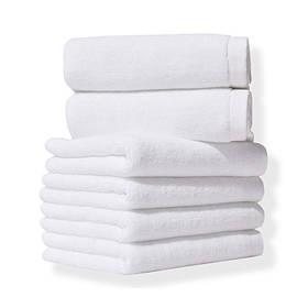 Турецкие белые махровые полотенца 400 г/м2 для отелей