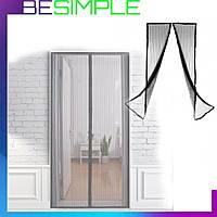 Москитная сетка на дверь на магнитах 100х210 см Magic Mesh / Антимоскитная сетка Черная