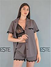 Пижама женская 3 в 1  Este рубашка шорты и кружевной топ мокко.