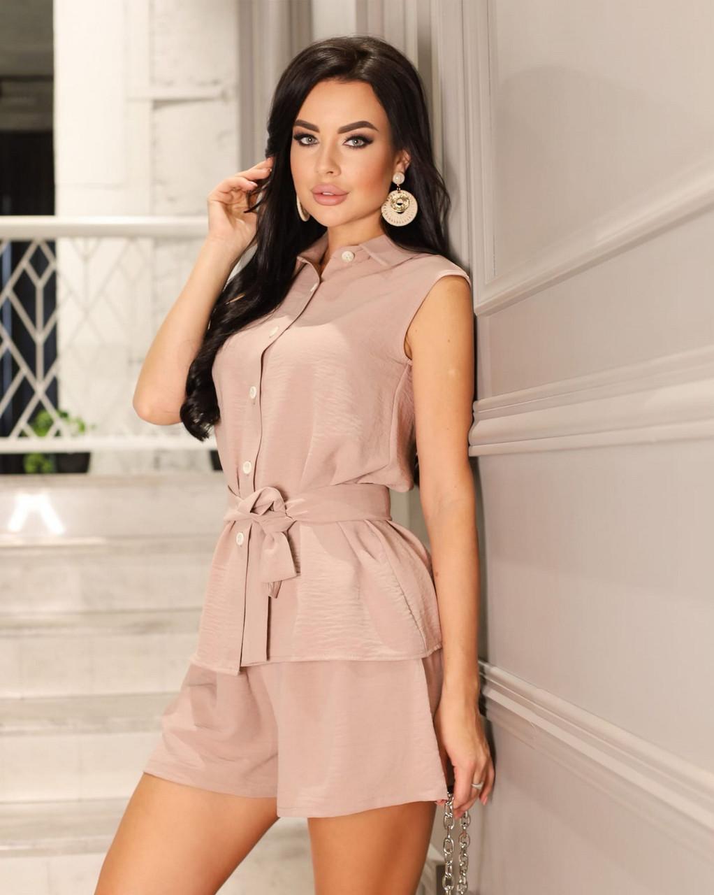 Практичний літній жіночий костюм двійка (блуза + шорти), 00829 (Кофе з молоком), Розмір 52 (XXXL)