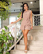 Практичний літній жіночий костюм двійка (блуза + шорти), 00829 (Кофе з молоком), Розмір 52 (XXXL), фото 2