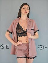 Пижама женская 3 в 1  Este рубашка шорты и кружевной топ .