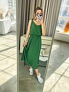 Повітряний штапельний сарафан на бретельках, міді, 00826 (Зелений), Розмір 42 (S), фото 2