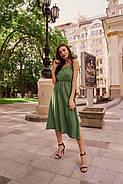 Повітряний штапельний сарафан на бретельках, міді, 00826 (Зелений), Розмір 42 (S), фото 5
