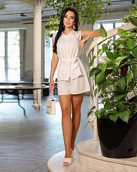 Женственный лаконичный костюм двойка с шортами и блузой, 00830 (Белый), Размер 48 (XL)