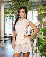 Женственный лаконичный костюм двойка с шортами и блузой, 00830 (Белый), Размер 48 (XL), фото 2