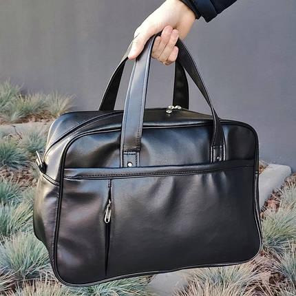 Черная кожаная мужская | женская спортивная сумка (Эко кожа) для фитнеса и тренировок. Стильная дорожная сумка, фото 2