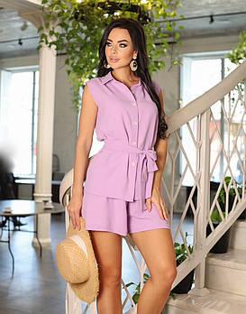 Стильный и летний женский костюм из креп-жатки с шортами, 00828 (Лиловый), Размер 42 (S)