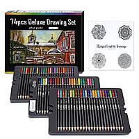 Цветные карандаши, ластик, точилка и раскраска 30 листов (72 цвета)