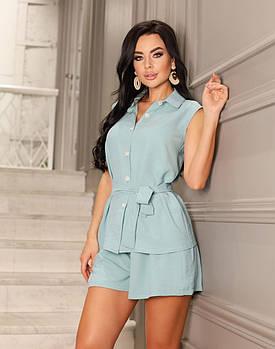 Женский костюм двойка (короткие шорты + блуза), 00827 (Бирюзовый), Размер 52 (XXXL)