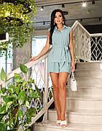 Жіночий костюм двійка (короткі шорти + блуза), 00827 (Бірюзовий), Розмір 52 (XXXL), фото 2