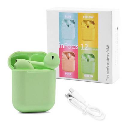 Бездротові навушники блютуз гарнітура inPods 12 simple TWS bluetooth V5.0 сенсорні. Колір: зелений, фото 2